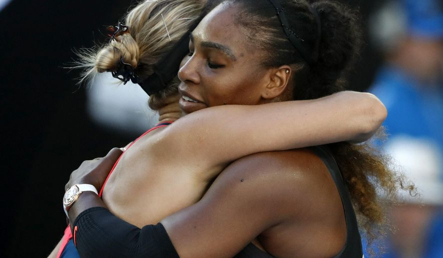 United States' Serena Williams, right, embraces Croatia's Mirjana Lucic-Baroni, after winning their semifinal at the Australian Open tennis championships in Melbourne, Australia, Thursday, Jan. 26, 2017. (AP Photo/Dita Alangkara)