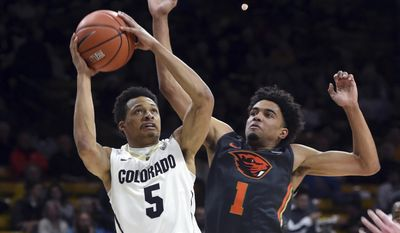Colorado's Deleon Brown drives on Oregon State's Stephen Thompson during the first half of an NCAA college basketball game Thursday, Jan. 26, 2017, in Boulder, Colo. (Cliff Grassmick/Daily Camera via AP)