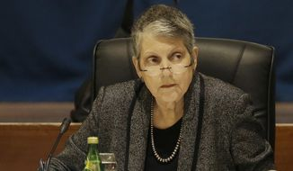 University of California president Janet Napolitano listens to speakers at a Board of Regents meeting in San Francisco, Thursday, Jan. 26, 2017. The university system's Board of Regents voted Thursday for a plan to increase tuition by 2.5 percent a year, its first tuition increase in seven years. (AP Photo/Jeff Chiu)