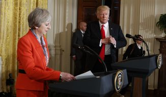 President Donald Trump and British Prime Minister Theresa May prepare for their news conference in the East Room of the White House in Washington, Friday, Jan. 27, 2017. (AP Photo/Evan Vucci)