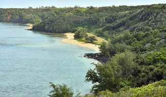 FILE - This Jan. 15, 2017 file photo shows public Pilaa Beach, center, below hillside and ridge top land owned by Facebook CEO Mark Zuckerberg, near Kilauea on the north shore of Kauai in Hawaii. Zuckerberg and his wife Priscilla Chan are dropping lawsuits seeking to buy out Native Hawaiians who own small parcels of land within their 700-acre Kauai estate. (Ron Kosen/photospectrumkauai.com via AP, file)