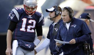 In this Sunday, Dec. 4, 2016, photo, New England Patriots quarterback Tom Brady (12) stands by head coach Bill Belichick during the first half of an NFL football game against the Los Angeles Rams in Foxborough, Mass. Offensive coordinator Josh McDaniels is also seen in the middle. No team or coaching staff is better at planning for a specific opponent than the Patriots. Belichick, Matt Patricia and McDaniels will devise strategies that can rob Atlanta of its most dangerous weapons. (AP Photo/Elise Amendola)