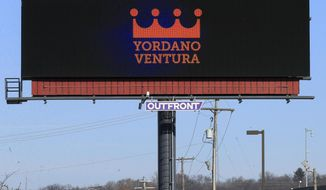 A billboard memorializing Kansas City Royals pitcher Yordano Ventura is shown along I-29 in Kansas City, Mo., Friday, Jan. 27, 2017. The Kansas City Royals organization gathered together Friday to remember Yordano Ventura in a private Celebration of Life for the pitcher who died Sunday in a car accident in the Dominican Republic. (AP Photo/Orlin Wagner)