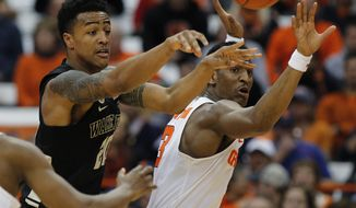Wake Forest's John Collins, left, passes the ball under pressure from Syracuse's Andrew White in the second half of an NCAA college basketball game in Syracuse, N.Y., Tuesday, Jan. 24, 2017. Syracuse won 81-76. (AP Photo/Nick Lisi)