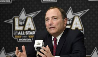 National Hockey League Commissioner Gary Bettman speaks during a news conference at Staples Center, Saturday, Jan. 28, 2017, in Los Angeles. The NHL All-Star Game is scheduled to be played at Staples Center on Sunday. (AP Photo/Mark J. Terrill) **FILE**