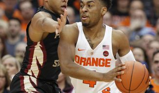 Syracuse's John Gillon, right, under pressure from Florida State's CJ Walker, left, in the first half of an NCAA college basketball game in Syracuse, N.Y., Saturday, Jan. 28, 2017. (AP Photo/Nick Lisi)