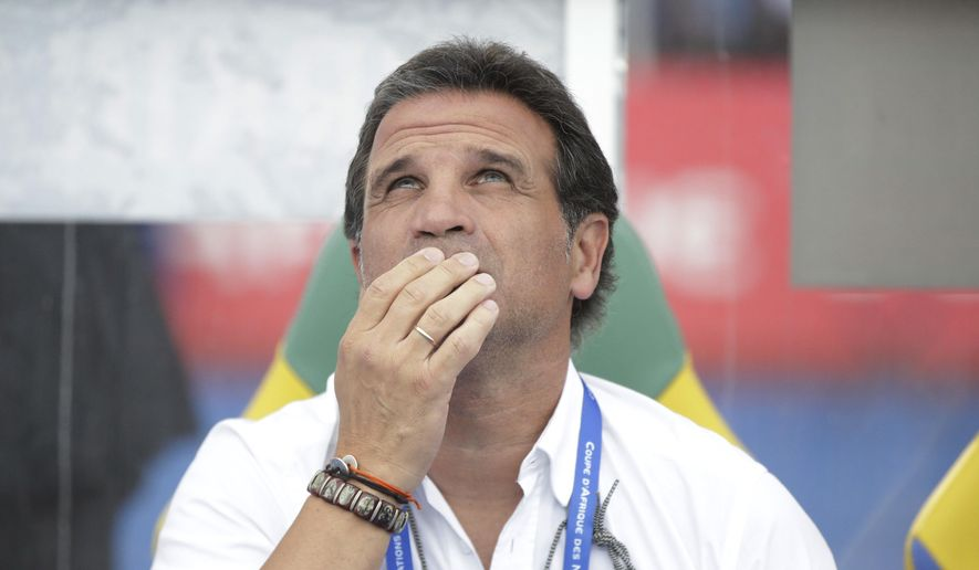 Burkina Faso's soccer coach Paulo Duarte before their African Cup of Nations quarterfinal soccer match between Tunisia and Burkina Faso at the Stade de l'Amitie Libreville, Gabon, Saturday, Jan. 28, 2017. (AP Photo/Sunday Alamba)