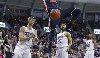 Auburn forward Anfernee McLemore (24) hangs on the rim after a slam dunk at the end of the first half  of an NCAA college basketball game against TCU  in Fort Worth, Saturday, Jan. 28, 2017. (Paul Moseley /Star-Telegram via AP)