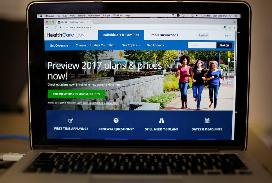 The HealthCare.gov website is still up and running, days after congressional Republicans imposed a deadline to begin their promised Obamacare repeal. (Associated Press) ** FILE **