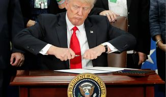 President Trump has had a busy first week in office, signing 17 executive orders, including a controversial measure to effectively ban travelers from several Middle Eastern countries from entering the U.S. (Associated Press photographs)