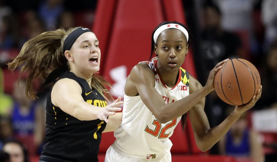 Maryland guard Shatori Walker-Kimbrough, right, looks for a teammate as she is pressured by Iowa guard Alexa Kastanek in the first half of an NCAA college basketball game, Sunday, Jan. 29, 2017, in College Park, Md. (AP Photo/Patrick Semansky)
