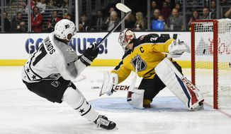 Metropolitan Division forward Wayne Simmonds, of the Philadelphia Flyers, scores on Atlantic Division goalie Carey Price, of the Montreal Canadiens, during an NHL All-Star hockey game at Staples Center, Sunday, Jan. 29, 2017, in Los Angeles. (AP Photo/Mark J. Terrill)