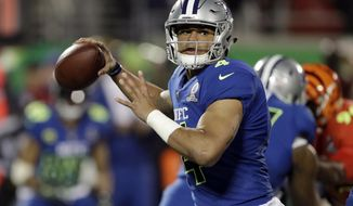 NFC quarterback Dak Prescott (4), of the Dallas Cowboys, looks to pass, during the first half of the NFL Pro Bowl football game Sunday, Jan. 29, 2017, in Orlando, Fla. (AP Photo/Chris O'Meara)