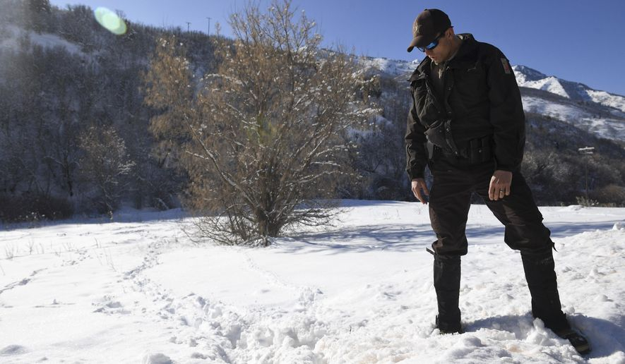 ADVANCE FOR SUNDAY JAN. 29, 2017-  This photo taken  Jan. 16, 2017 , shows Utah Division of Wildlife Resources Conservation Officer Sean Spencer checking out animal tracks near South Fork Park in Provo Canyon. Utah wildlife officers are on high alert for poachers as winter weather brings wildlife out of higher elevations and closer to populated areas. (Isaac Hale /The Daily Herald via AP)