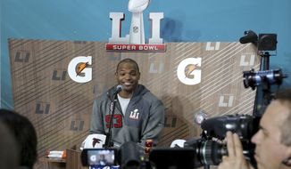 Atlanta Falcons Dwight Freeney is seen at Super Bowl Opening Night at Minute Maid Park on Monday, January 30, 2017 in Houston, TX. (AP Photo/Gregory Payan)