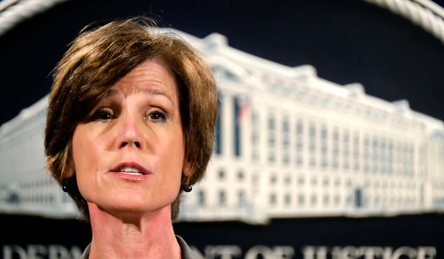 """President Trump fired acting Attorney General Sally Yates, an Obama administration holdover, after she """"betrayed the Department of Justice"""" by refusing to defend his executive order for extreme vetting, according to the White House. (AP Photo/J. David Ake) ** FILE **"""