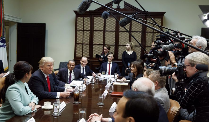 President Donald Trump speaks during a meeting with business leaders in the Roosevelt Room of the White House in Washington, Monday, Jan. 30, 2017. (AP Photo/Evan Vucci)
