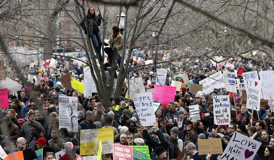 People sit in a tree above protesters carrying signs and chanting in Lafayette Park near the White House during a demonstration to denounce President Donald Trump's executive order that bars citizens of seven predominantly Muslim-majority countries from entering the U.S. on Sunday, Jan. 29, 2017, in Washington. (AP Photo/Alex Brandon)