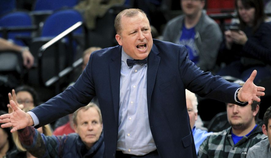 Minnesota Timberwolves coach Tom Thibodeau yells during the third quarter of the team's NBA basketball against the Brooklyn Nets in Minneapolis, Saturday, Jan. 28, 2017. The Timberwolves defeated the Nets 129-109. (AP Photo/Andy Clayton-King)