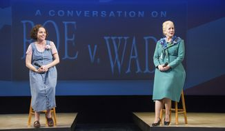 """In this image provided by C. Stanley Photography via Arena Stage, this Jan. 12, 2017 photo shows Sara Bruner portraying Norma McCorvey, the plaintiff in the landmark Supreme Court case about abortion, Roe v. Wade, and Sarah Jane Agnew portraying attorney Sarah Weddington. The two star in the play """"Roe,"""" which runs through Feb. 19 at Washington's Arena Stage. (C. Stanley Photography via AP)"""