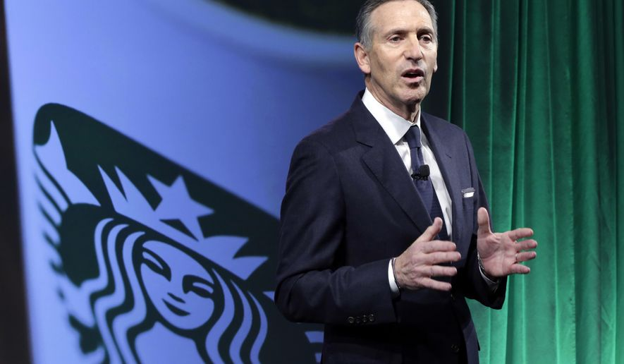 FILE- In this Dec. 7, 2016, file photo, Starbucks Chairman and CEO Howard Schultz speaks during the Starbucks 2016 Investor Day meeting in New York. Starbucks says it will hire 10,000 refugees over the next five years, a response to President Donald Trump's indefinite suspension of Syrian refugees and temporary travel bans that apply to six other Muslim-majority nations. Schultz said in a letter to employees Sunday, Jan. 29, 2017, that the hiring would apply to stores worldwide. (AP Photo/Richard Drew, File)
