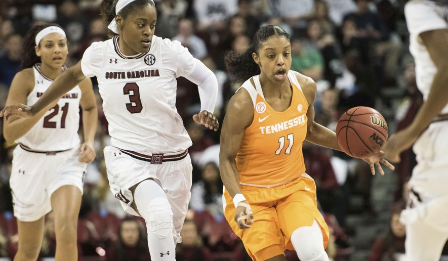 Tennessee guard Diamond DeShields (11) pushes the ball downcourt against South Carolina guard Kaela Davis (3) during the first half of an NCAA college basketball game, Monday, Jan. 30, 2017, in Columbia, S.C. (AP Photo/Sean Rayford)