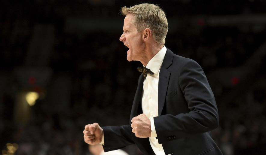 Golden State Warriors head coach Steve Kerr yells out at his team during the fourth quarter of an NBA basketball game against the Portland Trail Blazers in Portland, Ore., Sunday, Jan. 29, 2017. The Warriors won the game 113-111. (AP Photo/Steve Dykes)
