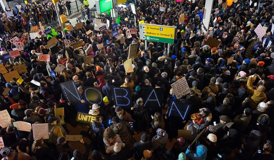 Protesters assemble at John F. Kennedy International Airport in New York to protest President Trump's travel ban from seven Muslim-majority countries. Faith leaders have been among the most vocal critics of the order. (Associated Press)