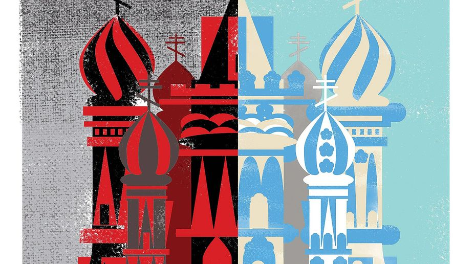 Illustration on renewing the view of Russia by Linas Garsys/The Washington Times