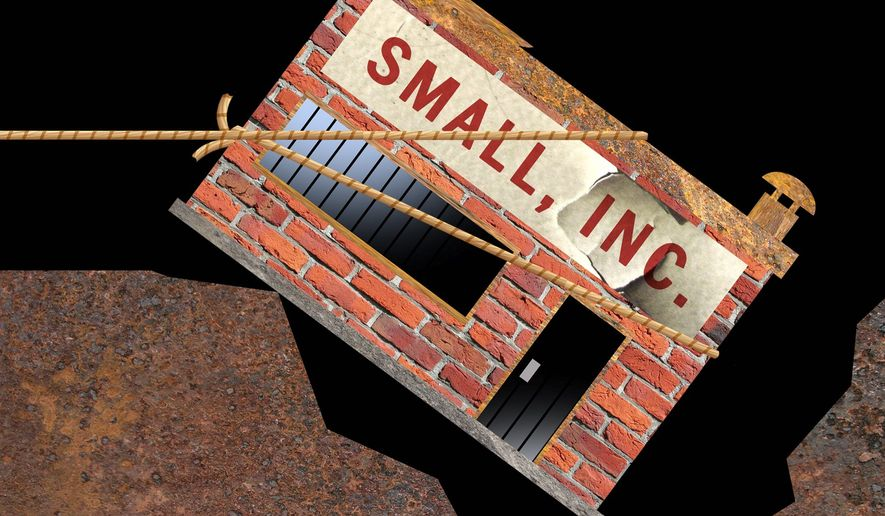 Illustration on saving small business in the U.S. by Alexander Hunter/The Washington Times