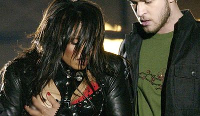 Janet Jackson and Justin Timberlake - Super Bowl XXXVIII (2004) Janet Jackson, covers her breast after her outfit came undone during the half time performance with Justin Timberlake at Super Bowl XXXVIII in Houston.(AP Photo/David Phillip)