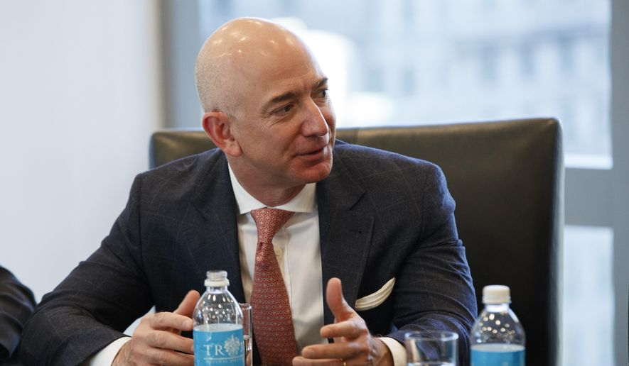 Amazon founder Jeff Bezos speaks during a meeting with then-President-elect Donald Trump and technology industry leaders at Trump Tower in New York in this Dec. 14, 2016, file photo. (AP Photo/Evan Vucci, File)