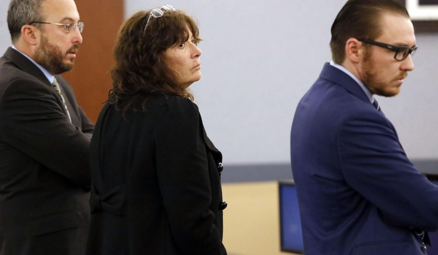 Mary Jo Frazier, the former head of the Boulder City Animal Shelter receives her sentence on Monday, Jan. 30, 2017, in Las Vegas. Frazier pleaded guilty to a felony animal cruelty charge. (Christian K. Lee/Las Vegas Review-Journal via AP)
