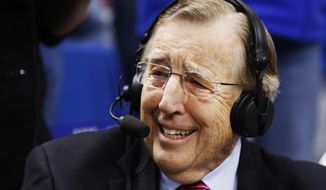 Veteran broadcaster Brent Musburger prepares for his last broadcast prior to an NCAA college basketball game between Kentucky and Georgia, Tuesday, Jan. 31, 2017, in Lexington, Ky. The game marks Musburger's last broadcast before retirement. (AP Photo/James Crisp) ** FILE **