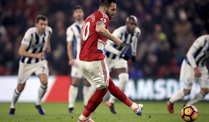 Middlesbrough's Alvaro Negredo scores his side's first goal of the game from the penalty spot, during the English Premier League soccer match between Middlesbrough and West Bromwich Albion, at the Riverside Stadium, in Middlesbrough, England, Tuesday Jan. 31, 2017. (Mike Egerton/PA via AP)