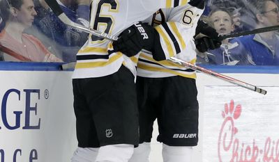 Boston Bruins center David Krejci (46), of the Czech Republic, hugs teammate left wing Brad Marchand (63) after Krejci scored against the Tampa Bay Lightning during the second period of an NHL hockey game Tuesday, Jan. 31, 2017, in Tampa, Fla. (AP Photo/Chris O'Meara)