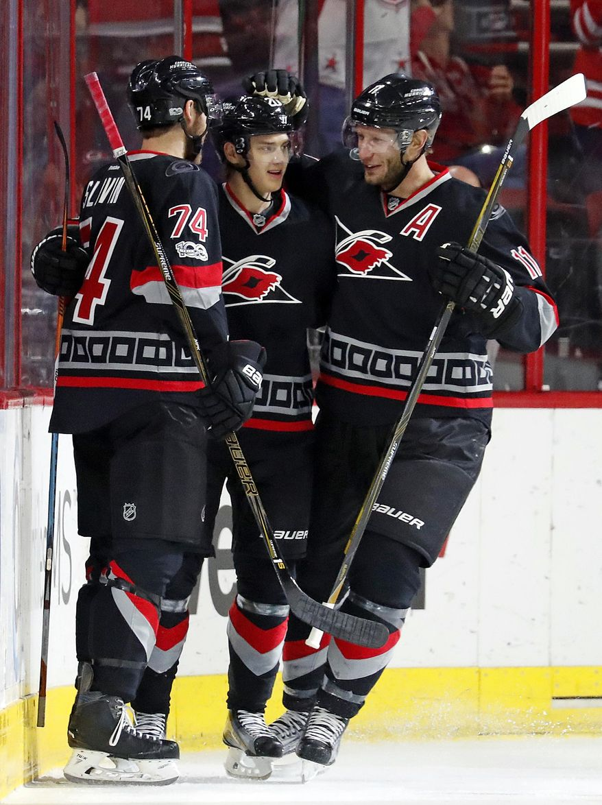 Carolina Hurricanes' Sebastian Aho, center, is congratulated on his goal by teammates Jordan Staal (11) and Jaccob Slavin (74) during the first period of an NHL hockey game against the Philadelphia Flyers, Tuesday, Jan. 31, 2017, in Raleigh, N.C. (AP Photo/Karl B DeBlaker)