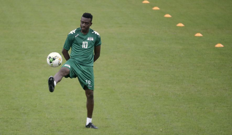 Burkina Faso's Alain Traore, attends a training session in Libreville, Gabon, Tuesday, Jan. 31, 2017, ahead of their African Cup of Nations Semi Finals soccer match against Egypt. (AP Photo/Sunday Alamba)