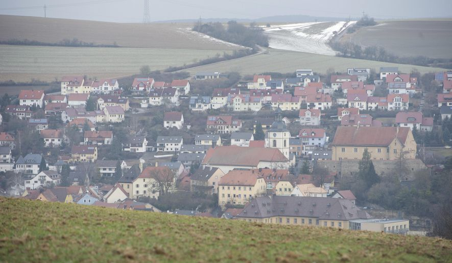 A view of the town of Arnstein, Germany, Tuesday, Jan. 31, 2017. German investigators say that six teenagers whose bodies were found at a garden house in Bavaria died of carbon monoxide poisoning.  (Timm Schamberger/dpa via AP)