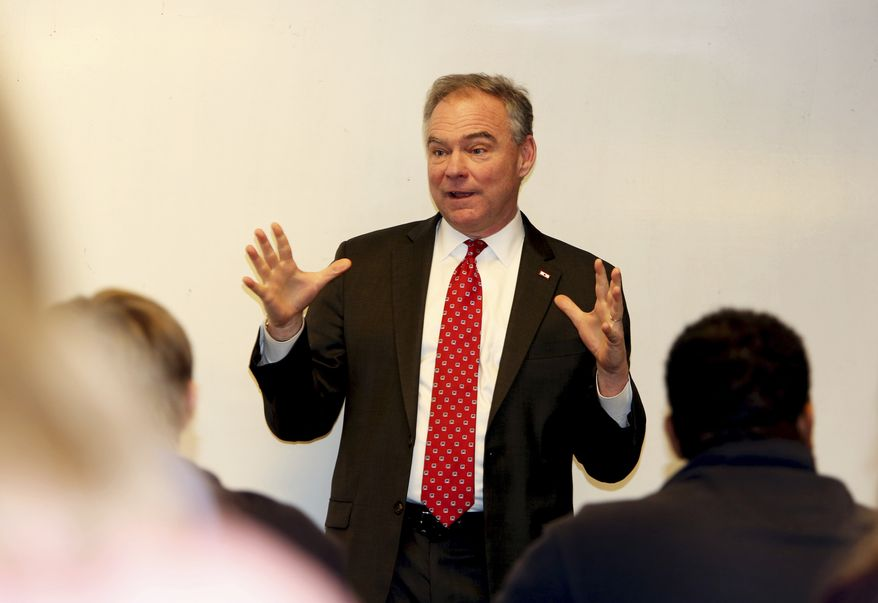 Sen. Tim Kaine, D-Va., speaks at the Jefferson College of Health Sciences at the Carilion Clinic on Monday, Jan. 30, 2017, in Roanoke, Va. (Stephanie Klein-Davis/The Roanoke Times via AP) ** FILE **