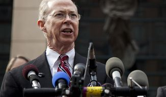 """FILE - In tbhis Jan. 26, 2012 file photo, Dana Boente, First Assistant U.S. Attorney for the Eastern District of Virginia, speaks outside federal court in Alexandria, Va.  Boente, the man appointed to serve as Acting Attorney General after his predecessor refused to defend President Trump's travel ban, has a reputation for providing steady leadership in difficult situations and was described by then-Attorney general Loretta Lynch as one of the Justice Department's """"consummate utility players.""""  (AP Photo/Evan Vucci, File)"""