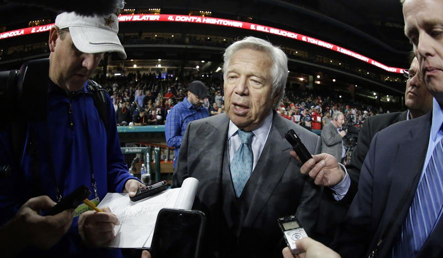 New England Patriots owner Robert Kraft answers questions during opening night for the NFL Super Bowl 51 football game at Minute Maid Park Monday, Jan. 30, 2017, in Houston. (AP Photo/David J. Phillip)