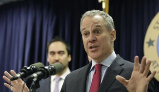 In this March 21, 2016, file photo, New York Attorney General Eric Schneiderman speaks during a news conference in New York. (AP Photo/Seth Wenig, File)