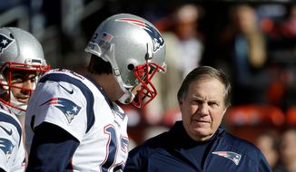 New England Patriots quarterback Tom Brady and coach Bill Belichick are preparing for their record seventh Super Bowl on Sunday. Only three other coaches reached the Super Bowl with the same quarterback as many as four times. (Associated Press Photographs)