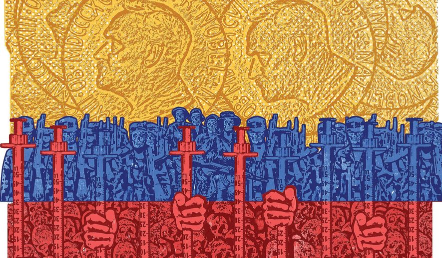Illustration on the peace process in Colombia by Linas Garsys/The Washington Times