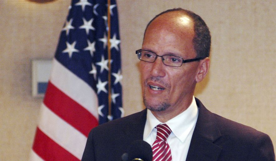Tom Perez speaks in Birmingham, Ala., in this Aug. 21, 2012, file photo. (AP Photo/Jay Reeves, File)