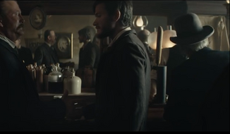 Screen capture from a new Budweiser commercial to air during Super Bowl LI that depicts the meeting of company's founders in the 1850s, Eberhard Anheuser and Adolphus Busch. (YouTube)