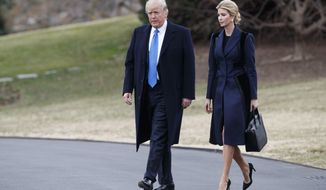 President Donald Trump and his daughter Ivanka walk to board Marine One on the South Lawn of the White House in Washington, Wednesday, Feb. 1, 2017. (AP Photo/Evan Vucci)