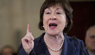 Sen. Susan Collins, Maine Republican, speaks on Capitol Hill in Washington on Jan. 10, 2017. (Associated Press) **FILE**