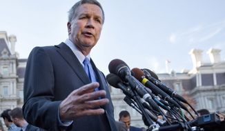 FILE – In this Nov. 10, 2016, file photo, Ohio Gov. John Kasich answers questions from reporters outside the West Wing of the White House in Washington. Kasich and other statewide leaders plan to address their top priorities this year at a forum sponsored by The Associated Press on Wednesday, Feb. 1, 2017. (AP Photo/Pablo Martinez Monsivais, File)